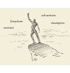 Drawn success climber man mountain sketch vector image