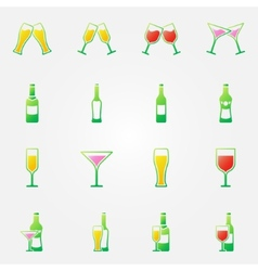 Drink alcohol bright icons vector