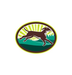 English Pointer Dog Fetching Stick Oval Retro vector image
