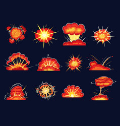 Explosion blasts bomb burst comic boom cartoon vector