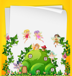 Fairy at the hill house template vector