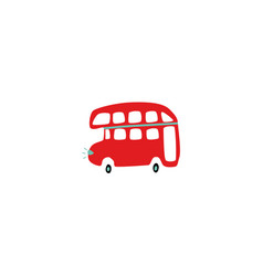 Flat british duble decker red bus isolated vector