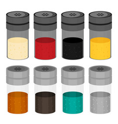 Flat set of kitchen spices in the package vector
