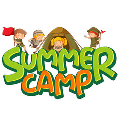 Font design for word summer camp with many kids vector