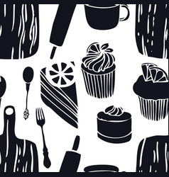 Food the cutting boards muffins seamless pattern vector