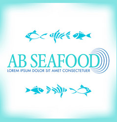 generic seafood company logo with fish icons vector image