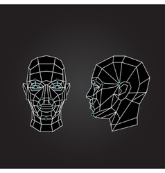 Geometric abstract human face front view side vector