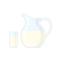 glass and jug with milk vector image