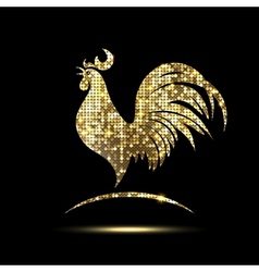 Golden Rooster of Glittering Spangles vector image