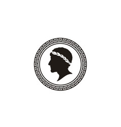 greek figure philosopher laurel wreath coin logo vector image