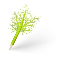 Green tree pencil EPS 10 vector image