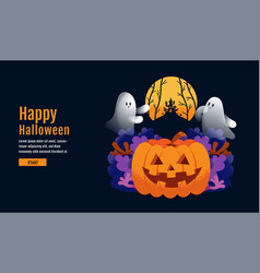halloween banner ghost scary spooky cartoon vector image