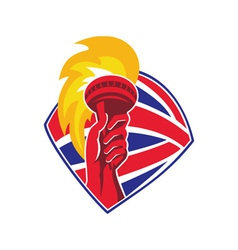 hand hold flaming torch british flag retro vector image