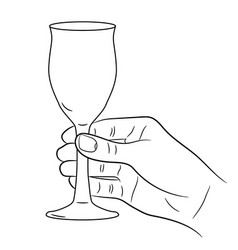 hand holding a wine glass on white background vector image
