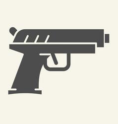 handgun solid icon pistol vector image