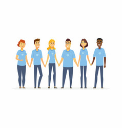 Happy volunteers holding hands - cartoon people vector