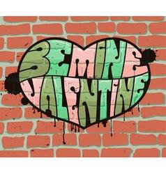 Heart on brick wall vector