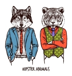 Hipster Animals Set vector image