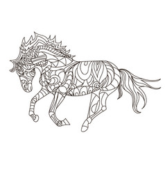 horse coloring book page simple pattern vector image
