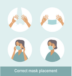 how to wear medical mask properly vector image