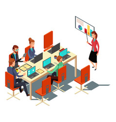 Isometric business presentation meeting vector