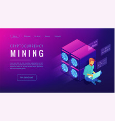 Isometric cryptocurrency mining landing page vector