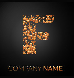 letter f logo gold dots alphabet logotype vector image