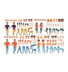 male and female characters creation set people vector image