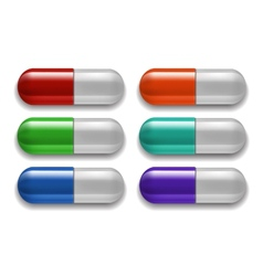 Medical pills set different colors vector