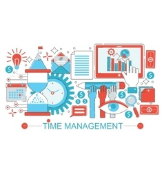 Modern Flat thin Line design Time management vector image