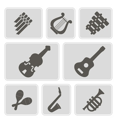 monochrome icons with musical instruments vector image