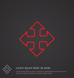 Move outline symbol red on dark background logo vector