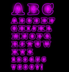 neon purple uppercase alphabet on black background vector image