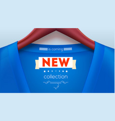 new collection tag on shirt blue jacket hanging vector image