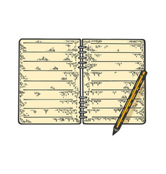 notepad and pencil sketch vector image