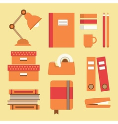 Office and school supplies icon set on beige vector