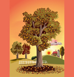 Old chestnut tree vector