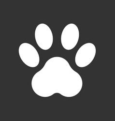 paw print icon isolated on black background dog vector image