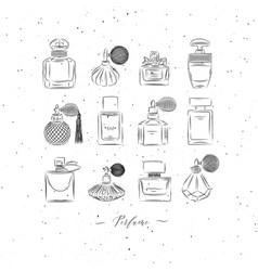 Perfume vintage bottles white vector