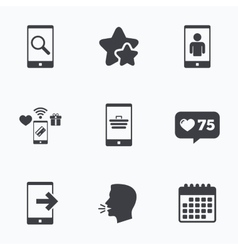 Phone icons Video call online shopping vector image