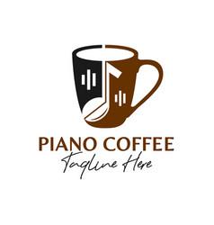 Piano music coffee inspiration logo vector