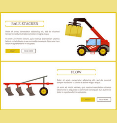 Plow and bale stacker set vector