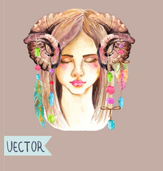 portrait of beautiful young woman with beautiful vector image