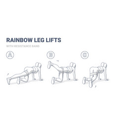 Rainbow legs lifts with resistance band woman home vector