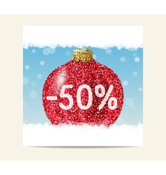 Red glitter christmas ball for christmas sale vector image