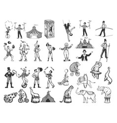 retro circus performance set sketch vector image