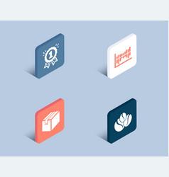 Reward column diagram and parcel icons coffee vector