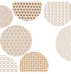 round geometric golden different patterns on vector image