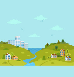 rural hilly landscape with houses and buildings vector image