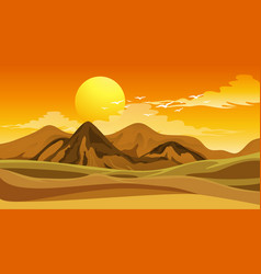 Scene with big field at sunset vector